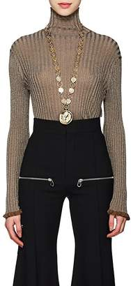 Chloé Women's Metallic Rib-Knit Silk-Blend Turtleneck Sweater