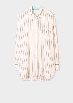 Paul Smith Women's Cream Stripe Oversized Silk Shirt