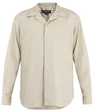 Balenciaga Point Collar Cotton Shirt - Mens - Beige