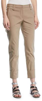 Brunello Cucinelli Straight-Leg Crop Barrel-Cuff Cotton Twill Pants