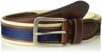 Tommy Hilfiger Men's 35mm Canvas Leather Ribbon Belt