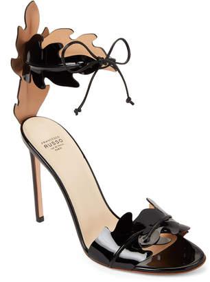 Francesco Russo Black Leaves Laser-Cut Ankle Tie Sandals