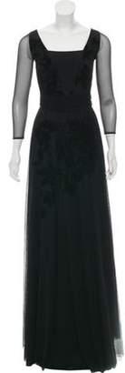 Chiara Boni Mesh & Velvet-Accented Evening Gown Black Mesh & Velvet-Accented Evening Gown