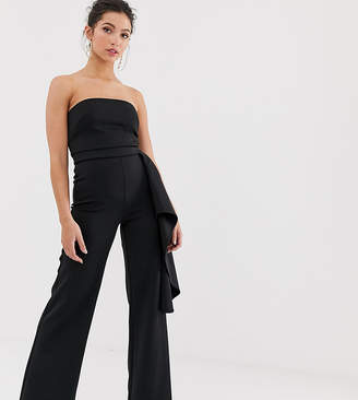 True Violet exclusive side peplum jumpsuit in black