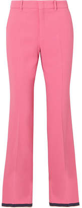 Gucci Cropped Grosgrain-trimmed Cady Bootcut Pants - Pink