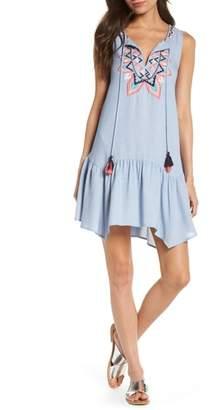 THML Embroidered Ruffle Shift Dress