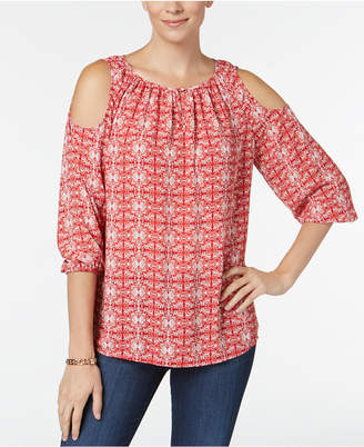 Charter Club Petite Cold-Shoulder Top, Created for Macy's