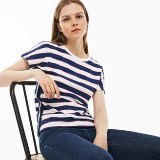 Lacoste Women's Crew Neck Colorblock Striped Cotton Jersey T-shirt