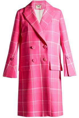 Fendi Double Breasted Checked Coat - Womens - Pink