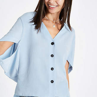 River Island Blue button front short sleeve loose top