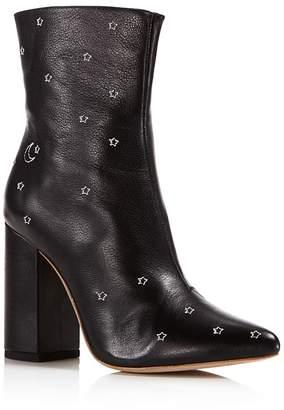 Raye Miles Leather Embroidered Star High-Heel Booties