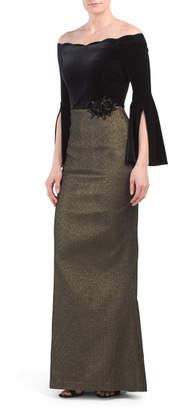 Split Sleeve Velvet Gown