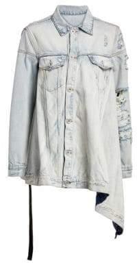 Taverniti So Ben Unravel Project Asymmetric Distressed Denim Jacket