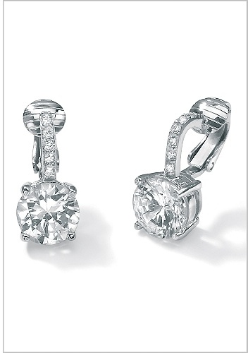 CZ Platinum/SS Clip-On Earrings