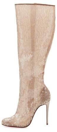 Christian Louboutin Tennissina Sequined Red Sole Knee Boot, Nude