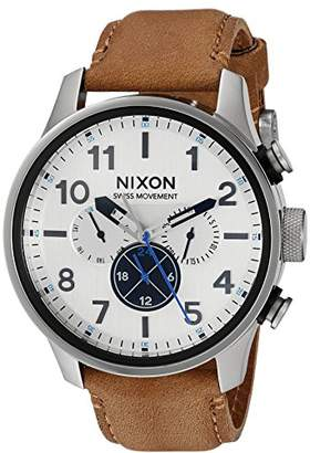Nixon Men's 'Safari Dual Time' Swiss Quartz Stainless Steel and Leather Casual Watch