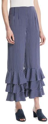 Club Monaco Aryah Pinstripe Ruffle Wide-Leg Pants