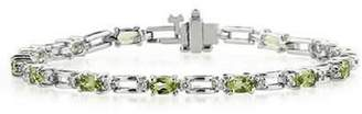 Silvostyles 14K Gold Plated 4.75 Carat Tw Peridot And D/VVS1 Diamond Link Bracelet