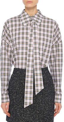 Tibi Kingston Shirting Easy Shirt with Zipper