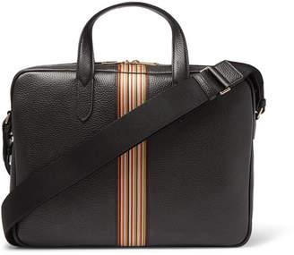 Paul Smith Portfolio Webbing-Trimmed Full-Grain Leather Messenger Bag