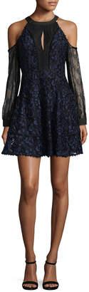 Allison Collection Cold-Shoulder Combo Lace Dress