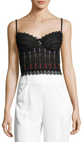 Alexander McQueen Alexander McQueen Floral-Embroidered Lace Bustier, Black