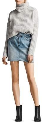 AllSaints Bette Belted Denim Mini Skirt