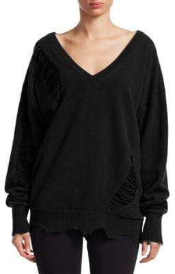 Helmut Lang Long Sleeve Distressed Wool V-Neck