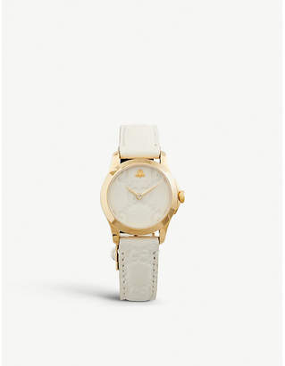 Gucci YA126580 G-Timeless Collection yellow-gold PVD and leather watch