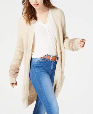 Jessica Simpson Juniors' Jennifer Mixed-Knit Faux-Fur Cardigan