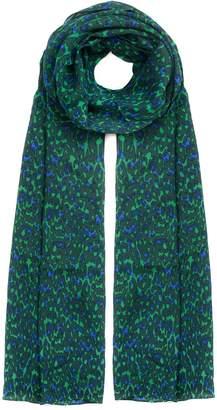 Libelula Silk Scarf Green & Blue Classy Leopard Print
