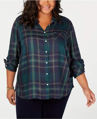 Tommy Hilfiger Plus Size Plaid Button-Front Shirt