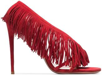 Aquazzura red wild fringe 105 suede leather sandals