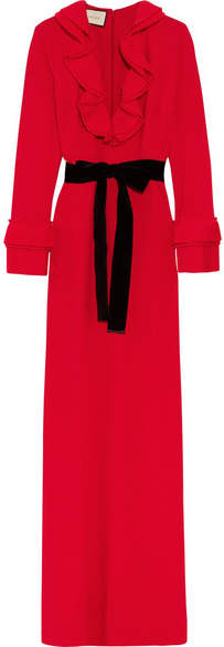 Gucci - Velvet-trimmed Ruffled Stretch-crepe Gown - Red