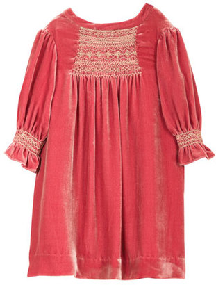 Bonpoint Embroidered Silk Velvet Shift Dress, Fuchsia, Size 3-8 $475 thestylecure.com