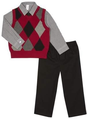 George Newborn Boy Argyle Sweater Vest 4pc Outfit Set
