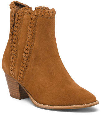 Stacked Heel Suede Ankle Booties