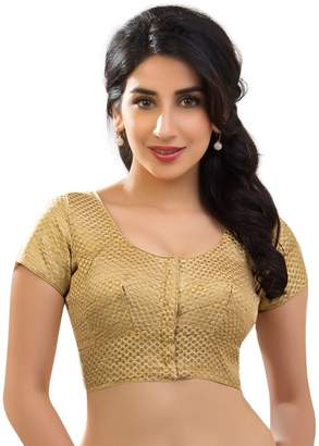 Bollywood Blouses Women's Brocade Designer Saree Blouse Non Padded