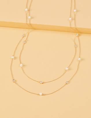 Lane Bryant Long Faux Pearl & Stone Necklace