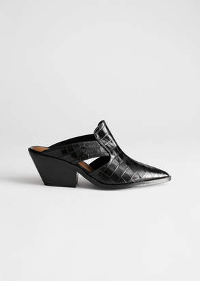 And other stories Cuban Heel Patent Croc Mules