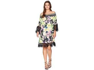 Hale Bob Flora and Fauna Rayon Stretch Satin Woven Dress