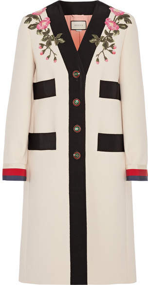 Gucci - Appliquéd Grosgrain-trimmed Wool Coat - Ecru