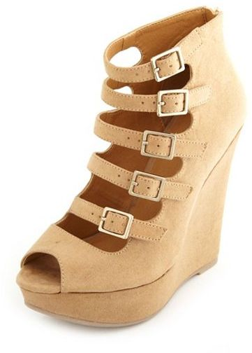 Charlotte Russe Sueded Buckle-Strap Wedge Bootie