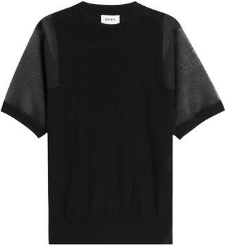 DKNY Cotton T-Shirt with Sheer Sleeves