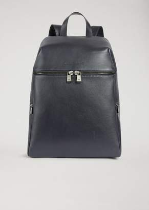 Emporio Armani Backpack In Grainy Leather And Technical Fabric