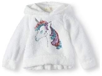 Btween Little Girls' Sequin Unicorn Sherpa Hoodie