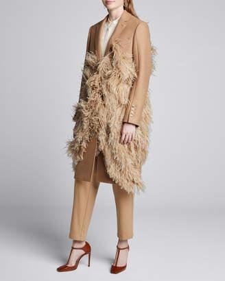 Burberry Feather-Trim Camel Hair Coat