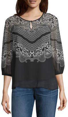 Liz Claiborne Womens Keyhole Neck 3/4 Sleeve Knit Blouse