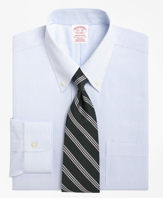 Brooks Brothers Traditional Relaxed-Fit Dress Shirt, Non-Iron Mini Pinstripe