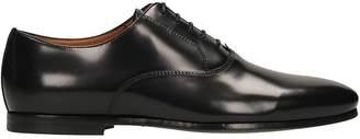 Lanvin Black Leather Derby In Soft Spazzolato